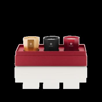 3er-Set Kerzen mit 80g - Rosso Nobile, Ambra und Melograno